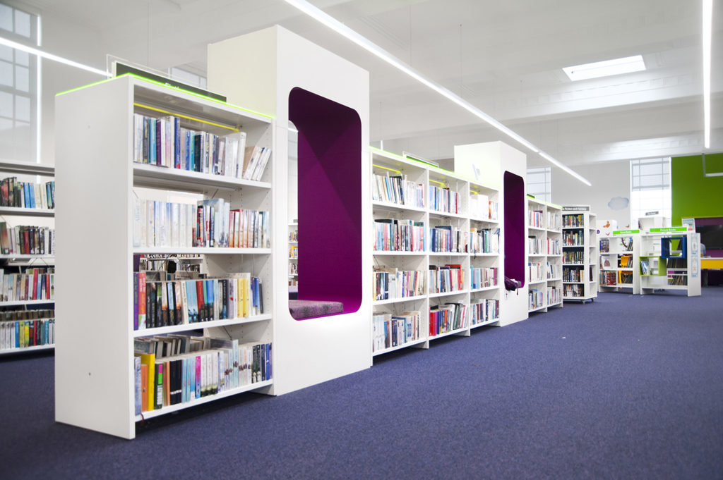 BCI Mobile Curved Shelving with Cocoons