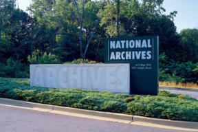 Sign outside of National Archives Storage - Space Saver Interiors