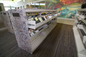 Anacostia Public Library Alternative Finishes - Library Shelving with pull out bins