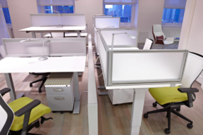 KI Furniture height adjustable desks within open office space