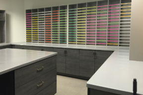 Laminate Hamilton Casework storage for commercial mail room