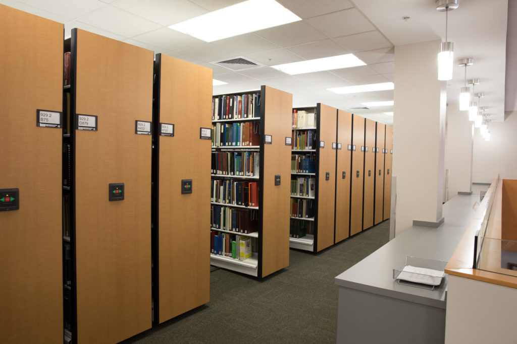 Spacesaver High-Density Mobile Shelving in Library