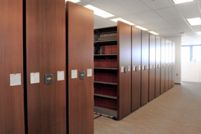 Spacesaver High-Density Mobile Shelving in a Law Library