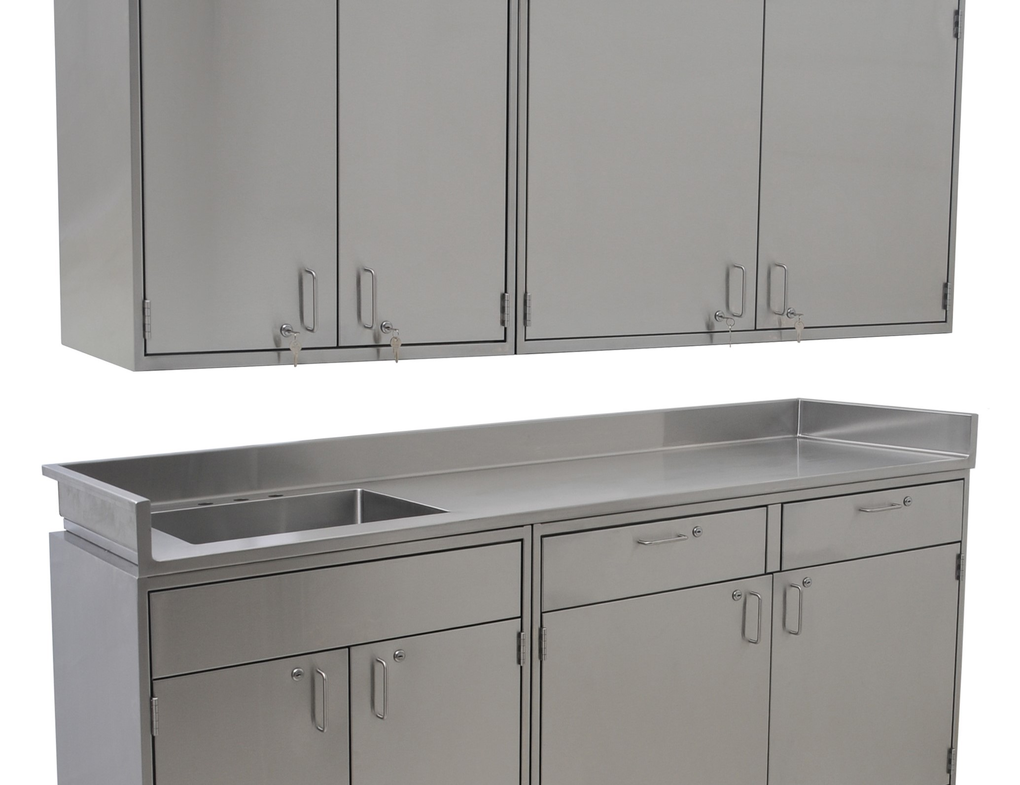 Eagle Stainless steel casework with wall and floor cabinets