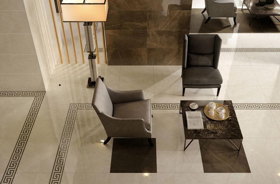Porcelain floor tiles in lobby