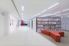 Stylish Legal Library featuring white laminate High Density Mobile Storage