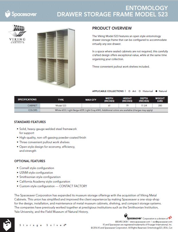 523 Entomology Drawer Storage Frame Cabinet