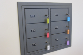 Evidence storage lockers Carbondale Police Department with color coded keys