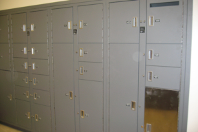 Evidence storage lockers at Carbondale Police Department