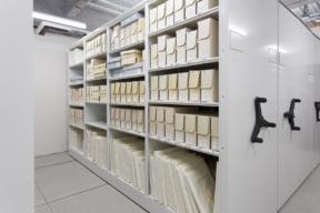 Archival Preservation Storage on Mechanical Assist Mobile Shelving