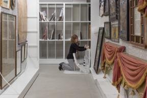 Mobile Art Racks Storing Framed Artwork