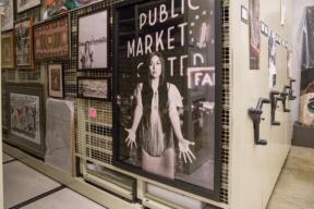 Framed Art on Art Rack on Mobile Shelving at Burke Museum