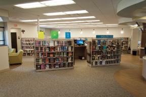 Cantilever Shelving with Custom End-Panel Graphics at Library