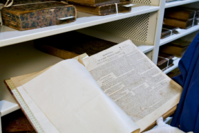 Close up of Rare book stored on Perforated Static Shelving