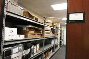 Evidence Storage on Wide Span Mobile Shelving at Police Department