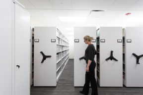 Archival Storage at Harper College on Mechanical-Assist Mobile Shelving