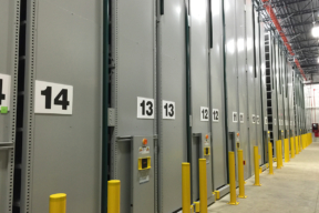 Archival Storage on Mobile High-Bay Shelving Solution at College Off-Site Facility