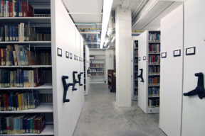 Mechanical-Assist Mobile Shelving for Library Storage