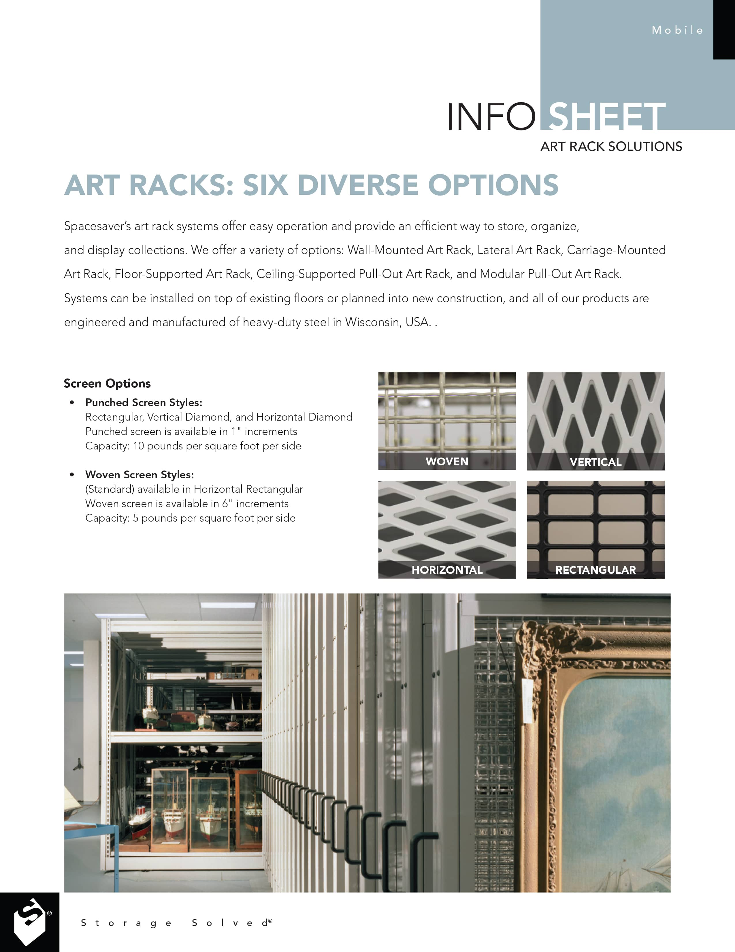 Six Art Rack Options Brochure