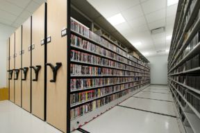 Music Library Storage on Mechanical-Assist Mobile Shelving