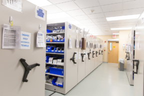 Healthcare Equipment Storage on Mechanical-Assist Mobile Shelving