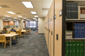 Electric High-Density Mobile Shelving in Library