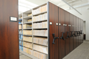 Mechanical Assist Mobile Shelving at Police Department