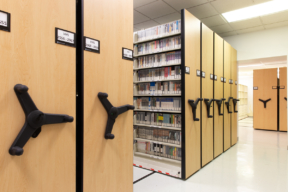 University Compact Mechanical-Assist Mobile Shelving