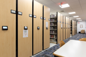 Powered Mobile Shelving in University Library with Touchscreen Display