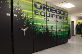 University Oregon Athletic Equipment Storage on Mechanical-Assist Mobile Shelving