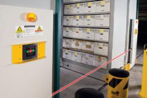 Aisle Entry Sensor on Mobile High-Bay Shelving System