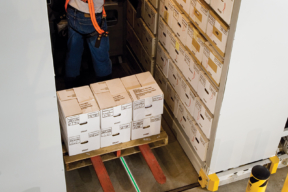 Mobile High-Bay Shelving Guide-Wire for Forklift Guidance