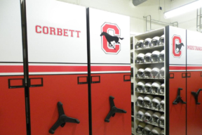 Low Profile Wheelhouse Mobile Shelving for Football Athletic Storage