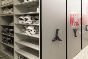 Low Profile Mobile Shelving for Football Storage