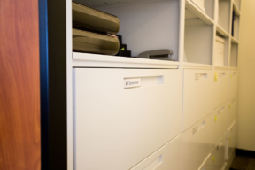 Lateral File Cabinets on Mobile Shelving Unit