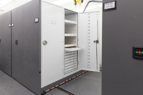 Flat Storage in Museum Cabinets on a Mobile Shelving