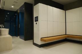 Sleek white laminate touchless Temporary Use Lockers - Fitness Lockers with Smart Lock
