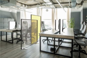 Stylish and Colorful Acrylic Dividers - Free Standing Panels breaking up a modern office