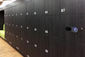 Black laminate personal storage Day-Use Lockers - Workplace Lockers