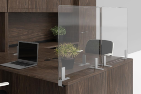 Clear Acrylic Dividers for the workplace dividing work stations on a desk