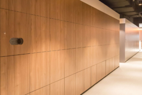Floor to ceiling wood laminate Smart Workplace Lockers - Package Delivery Lockers